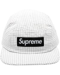 e3a1cf3d Supreme Reflective Text Camp Cap in Black for Men - Lyst