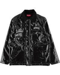 Supreme Quilted Patent Vinyl Work Jacket 'ss 18' - Black