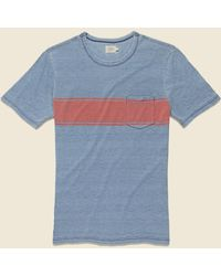 Faherty Brand Surf Stripe Pocket Tee - Blue/red