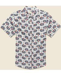 Bridge & Burn Harbor Shirt - Hawaiian Print - Blue