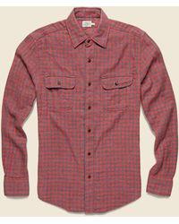 Faherty Brand Doublecloth Belmar Shirt - Red Charcoal Buffalo