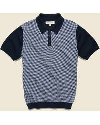 Barque Jacquard Sweater Polo - Blue