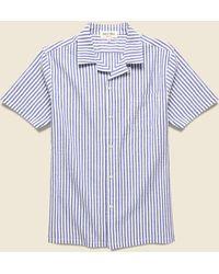 Alex Mill Seersucker Camp Shirt - Blue/white Stripes