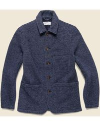 Universal Works Bakers Stripe Chore Jacket - Indigo - Blue