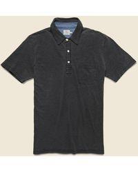 Faherty Brand Indigo Dyed Polo Shirt - Black Wash