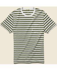 Alex Mill Even Stripe Tee - White/military Green