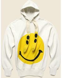 Kapital Rain Smile Fleece Knit Hoodie - White - Multicolor