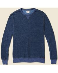 Faherty Brand Dual Knit Crew Sweatshirt - Navy - Blue