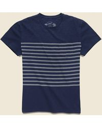 Grayers Admiral Stripe Crew Tee - Mood Indigo - Blue