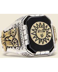 LHN Jewelry Ornate Aztec Ring - Metallic