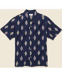 Universal Works Road Shirt - Indigo Ikat - Blue