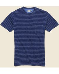 Faherty Brand Jacquard Indigo Pocket Tee - Geo Stripe - Blue