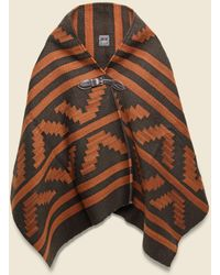 Chamula Wool Blanket Poncho - Chocolate/rust - Brown