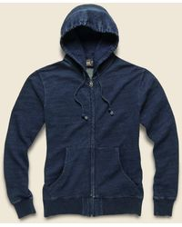 RRL French Terry Zip Hoodie - Washed Indigo - Blue