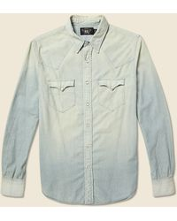 RRL Slim Chambray Buffalo Western Shirt - Light Wash - Multicolor