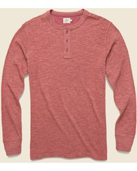 Faherty Brand Slub Cotton Henley - Crimson Heather - Pink
