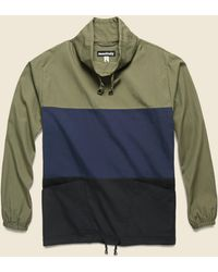 Monitaly Paneled Mock Neck Pullover - Olive/navy/black - Green