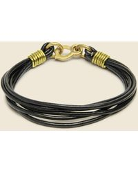 LHN Jewelry Leather Strand Bracelet - Brass/black Leather