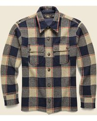 RRL Wool-cashmere Workshirt Sweater - Navy - Multicolor