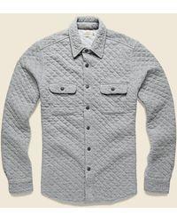Faherty Brand Quilted Belmar Cpo Shirt Jacket - Gray Feeder Stripe
