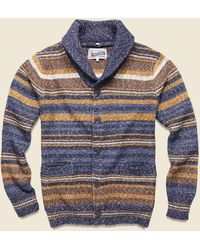 Schott Nyc Stripe Shawl Cardigan - Multi - Blue