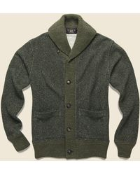 RRL Donegal Shawl Collar Sweater - Olive - Green