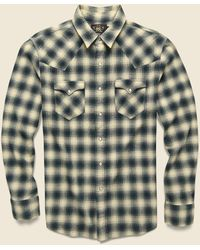 RRL Ombre Plaid Buffalo Western Shirt - Green