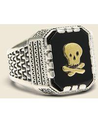 LHN Jewelry Skull Aztec Ring - Metallic