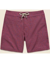 """Faherty Brand Classic 7"""" Boardshort - Etched Circle Red"""