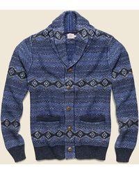 Faherty Brand Indigo Shore Cardigan - Mixed Indigo - Blue