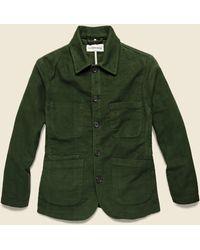 Universal Works Bakers Jacket - Olive Moleskin - Green
