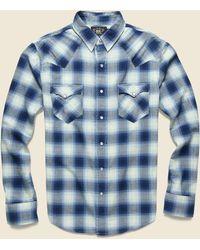 RRL Ombre Plaid Buffalo Western Shirt - Blue/cream