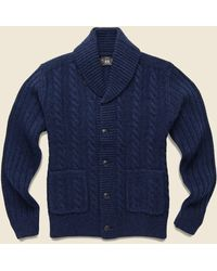 RRL Cable-rib Wool Cardigan - Navy Heather - Blue