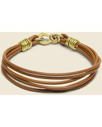 LHN Jewelry Leather Strand Bracelet - Brass/brown Leather - Multicolor