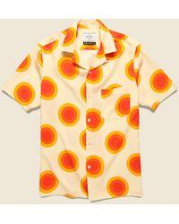Portuguese Flannel Sun Camp Shirt - White/yellow - Orange