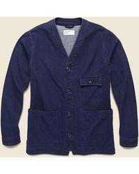 Universal Works Herringbone Cabin Jacket - Double Denim - Blue