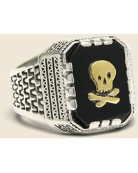 LHN Jewelry - Skull Aztec Ring - Silver/brass/onyx - Lyst