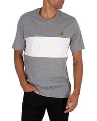 Lyle & Scott Colourblock Embroidered T-shirt - Gray