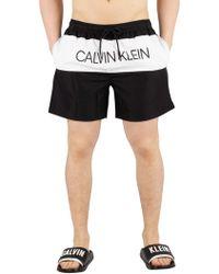 Calvin Klein - Black Medium Drawstring Block Swim Shorts - Lyst