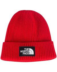 The North Face - Red Logo Box Beanie - Lyst
