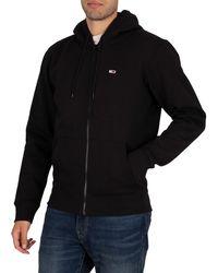 Tommy Hilfiger Regular Fleece Zip Hoodie - Black