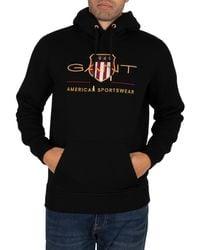 GANT Archive Shield Pullover Hoodie - Black