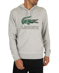 Lacoste Graphic Pullover Hoodie - Gray