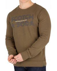 Scotch & Soda - Military Green Ams Blauw Graphic Sweatshirt - Lyst