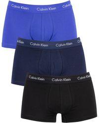 Calvin Klein 3 Pack Low Rise Trunks - Blue