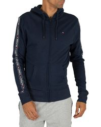Tommy Hilfiger Zip Logo Tapping Hoodie - Blue