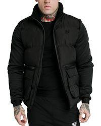 SIKSILK Neo Instinct Puffer Jacket - Black