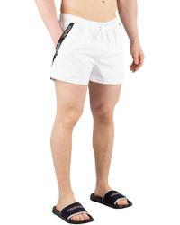 Calvin Klein - Short Drawstring Swim Shorts, White - Lyst