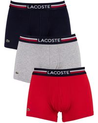 Lacoste 3 Pack Cotton Stretch Trunks Grey Red Navy Striped Band