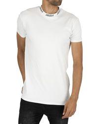 SIKSILK High Collar Logo T-shirt - White
